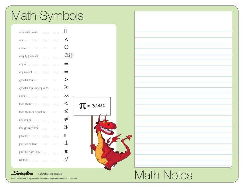 Math Study Guide - Laminating Templates