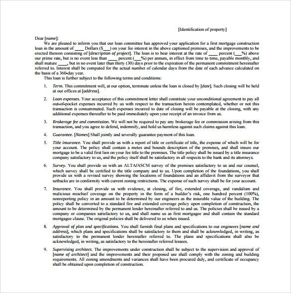Sample Mortgage Commitment Letter - 6+ Free Documents in PDF, Word