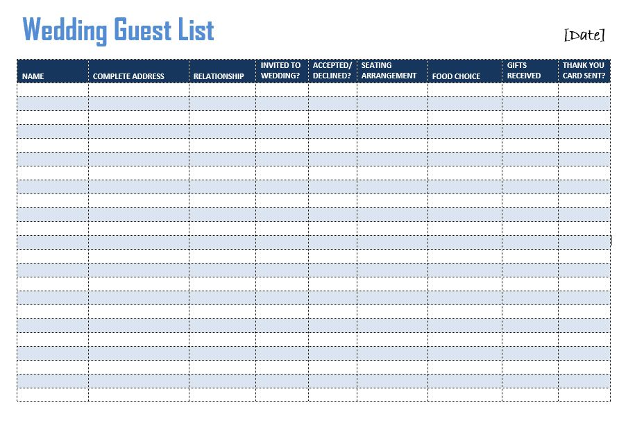 Free Printable Wedding Guest List Template Sample : Helloalive
