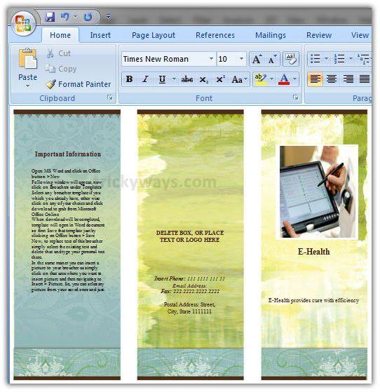 Create Brochure in Word 2007 or 2010 | Make Brochure Microsoft Word