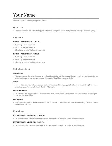 Functional resume - Office Templates