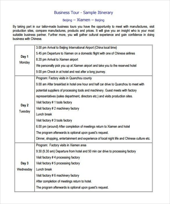 Sample Itinerary Template - 7+ Free Documents in PDF