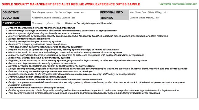 Security Job Resume | Resume Badak