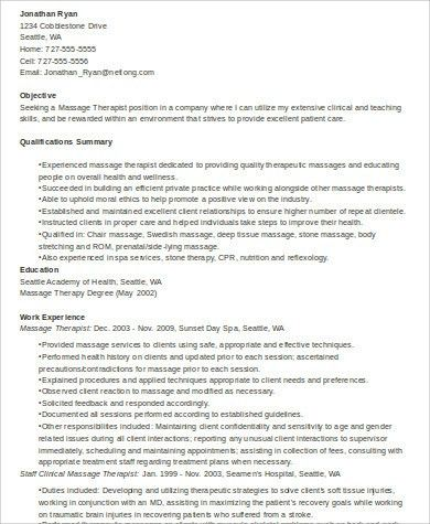 Sample Massage Therapist Resume - 7+ Examples in Word, PDF
