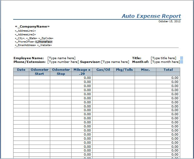 Auto Expense Report Template | Free Layout & Format