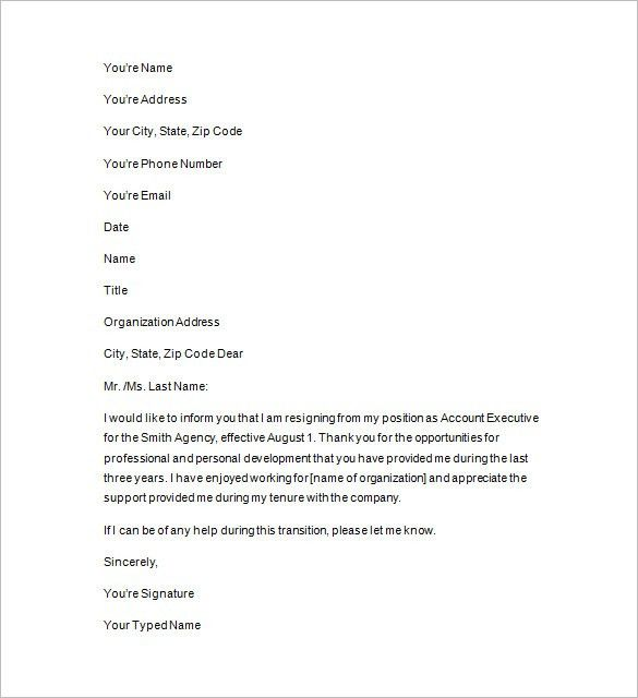 Two Weeks Notice Template – 12+ Free Word, Excel, PDF, Format ...