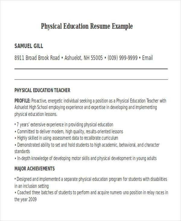 physical educator resume education resume sample page 1 physical