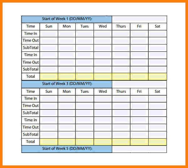 Sample Daily Timesheet. Printable Hourly Time Sheets   Printable ...