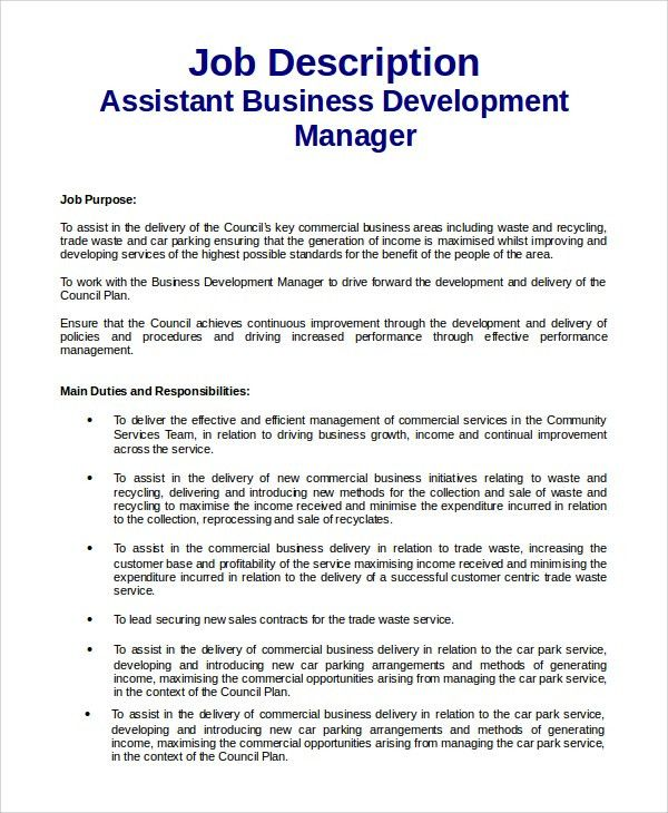 Sample Business Development Job Description - 9+ Examples in PDF, Word