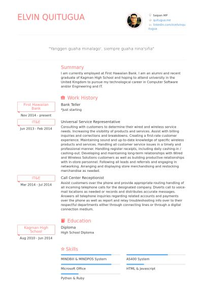 Teller Resume samples - VisualCV resume samples database