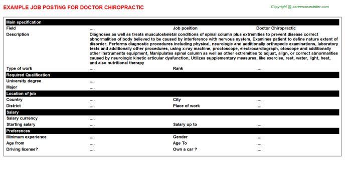 Doctor Job Posting Samples