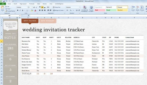 Invite List Template for Excel 2013