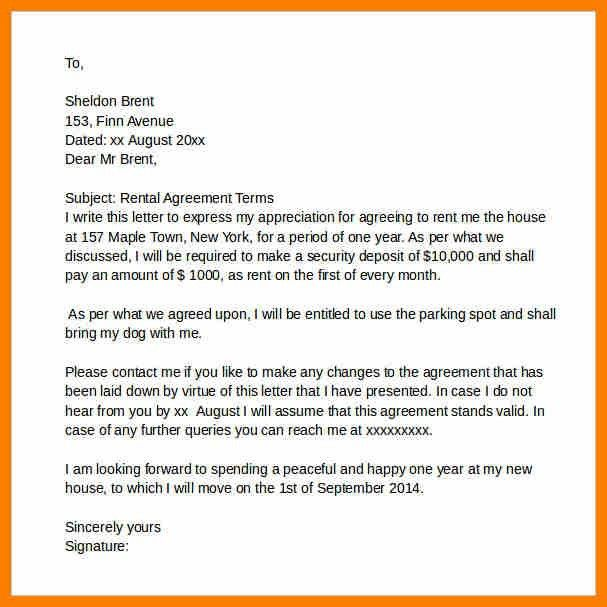 rental agreement letter