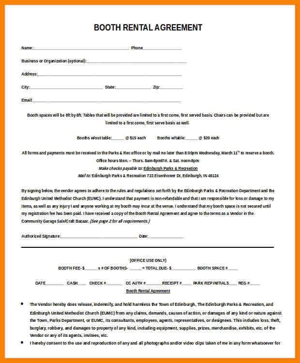 Booth Rental Agreement Template. Booth Rental Agreement Template ...