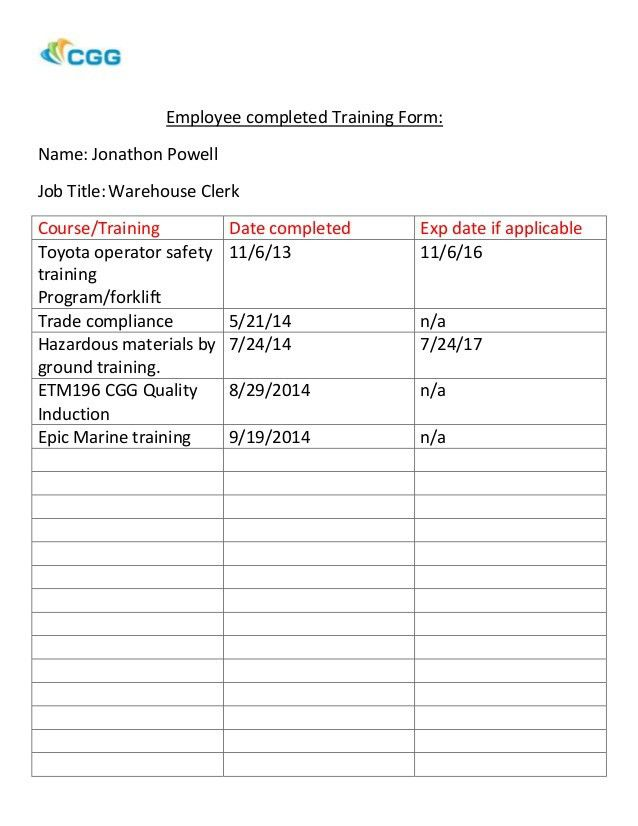 Employee completed Training Form