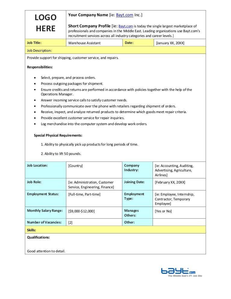 Warehouse Assistant Job Description Template by Bayt.com