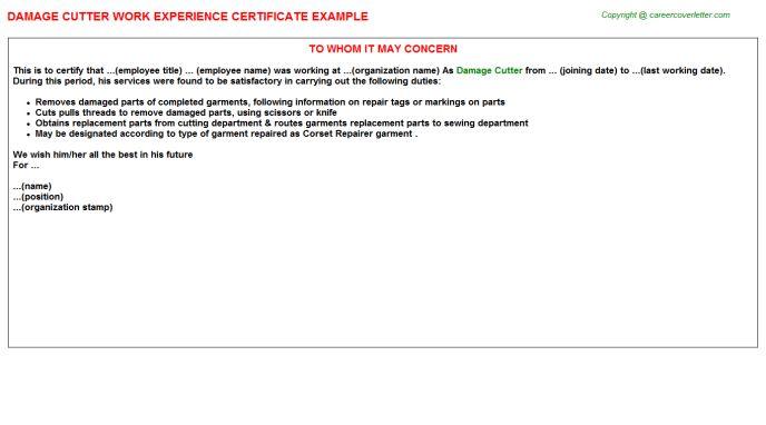 Damage Cutter Work Experience Certificate