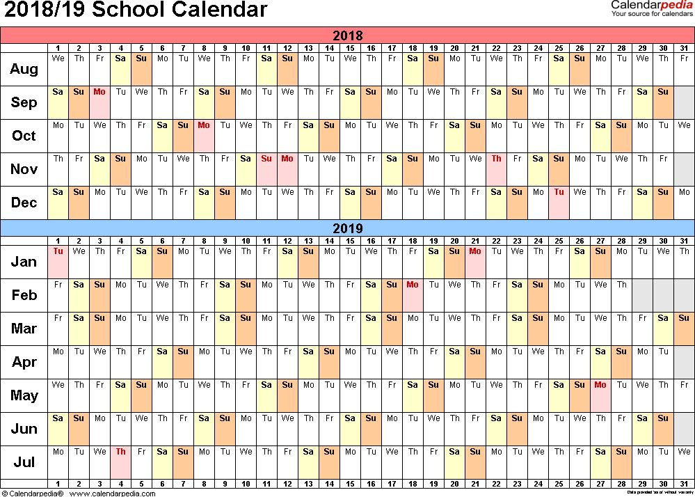 School calendars 2018/2019 as free printable Word templates