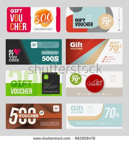 Abstract Gift Voucher Coupon Design Template Stock Vector ...