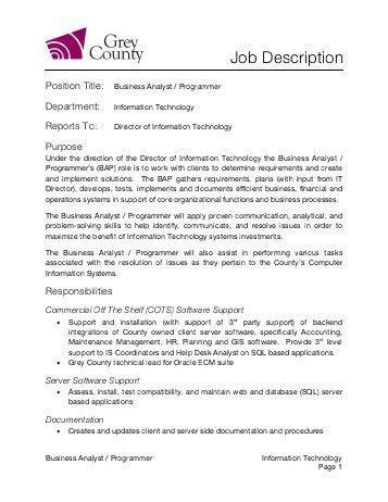 System Programmer Job Description. Sample Senior Programmer ...