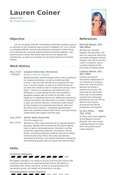 Veterinary CV Örneği - VisualCV Özgeçmiş Örnekleri Veritabanı