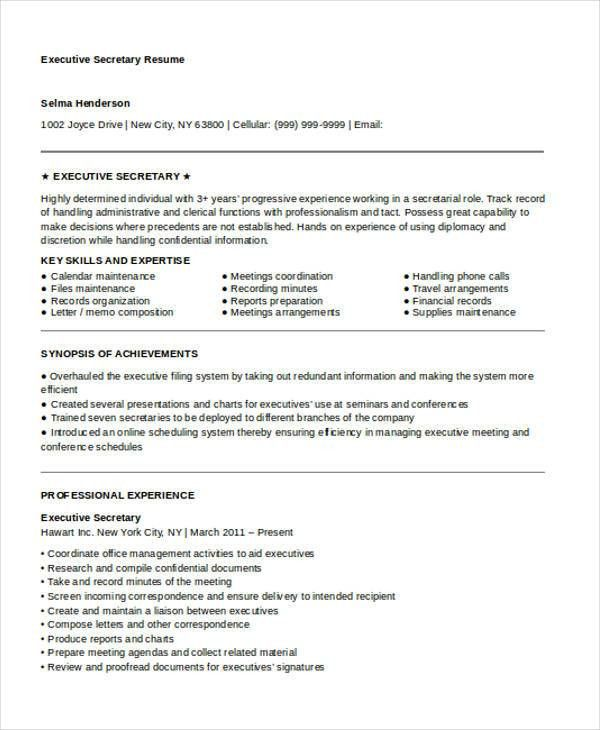 10+ Secretary Resume Templates - Free Sample, Example Format ...