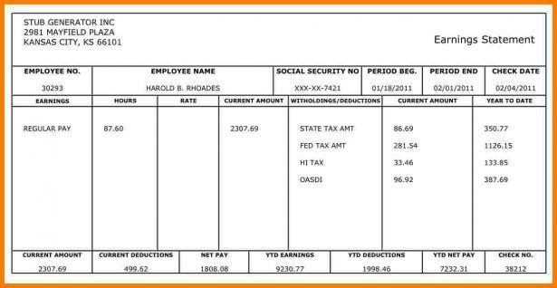 Checks Template Free Payroll Templates Pay Check Stub Template ...