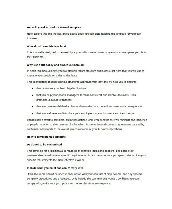 Business Manual Template. Hr Policy Manual Template Hr Manual ...