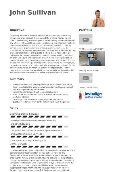 Dentist Resume samples - VisualCV resume samples database