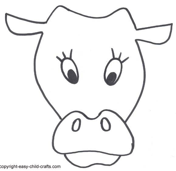 Cow Face Printable Masks Templates | Clipart für ABs for ...