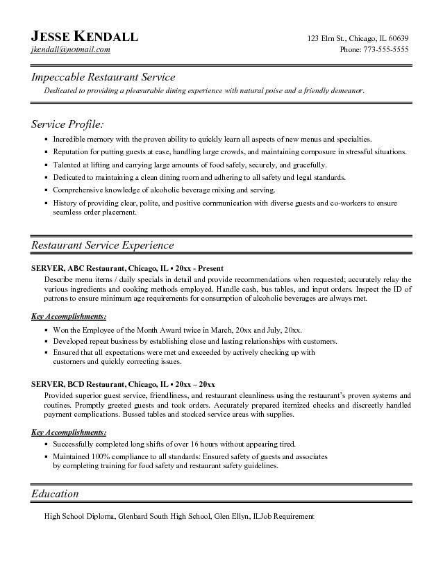 14 Top Restaurant Resume Sample | RecentResumes.com