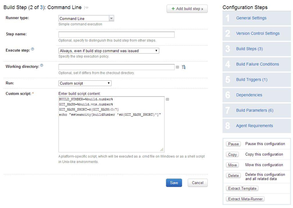 Display the short GIT version hash as build identifier in TeamCity