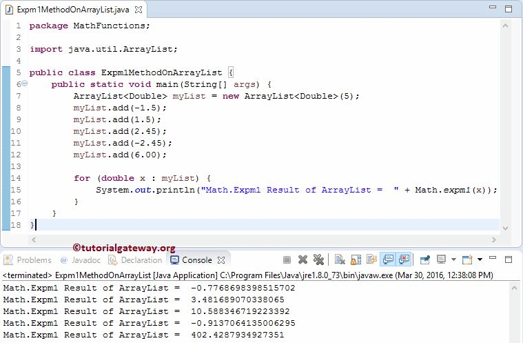 Java expm1 Function
