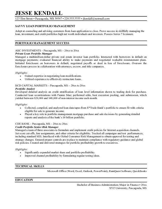 Free Loan Portfolio Manager Resume Example