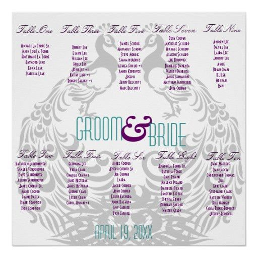 Sample Chart Templates » Wedding Reception Seating Chart Poster ...