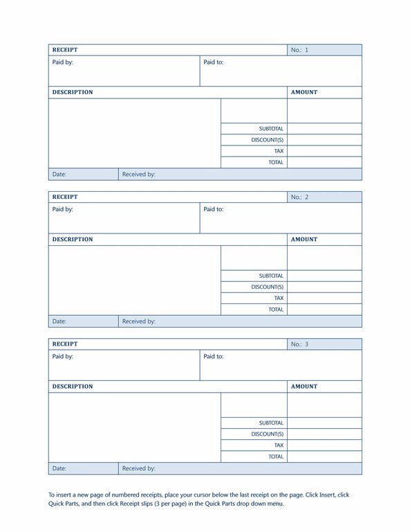 Receipt for goods or services - Office Templates