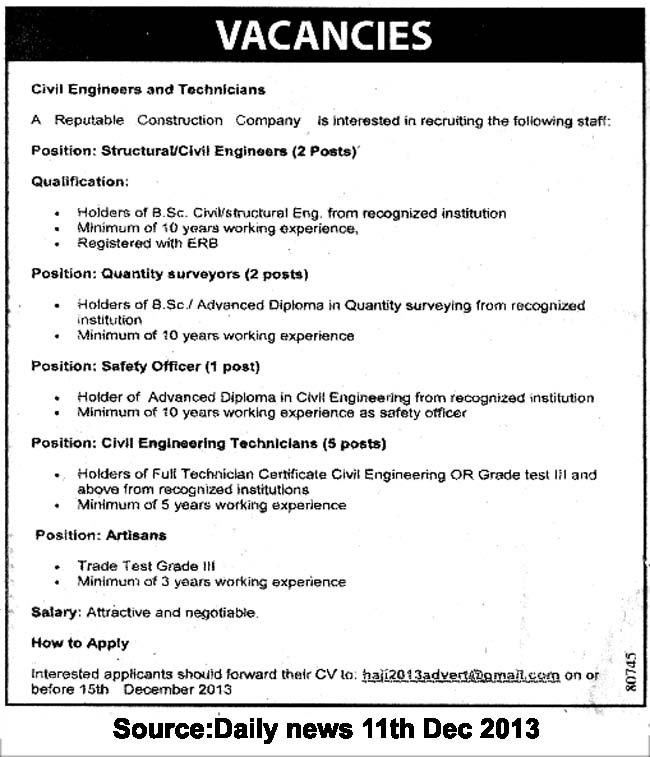 Structural/Civil Engineers, Quantity Surveyours, Safety Officers ...