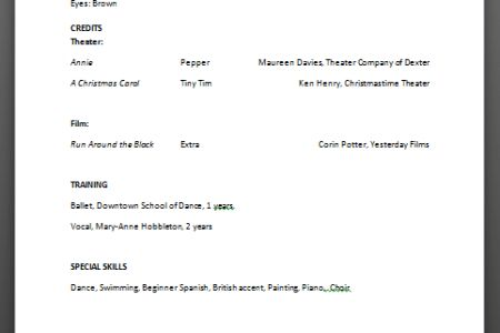 beginners actors resume sample of acting resume template
