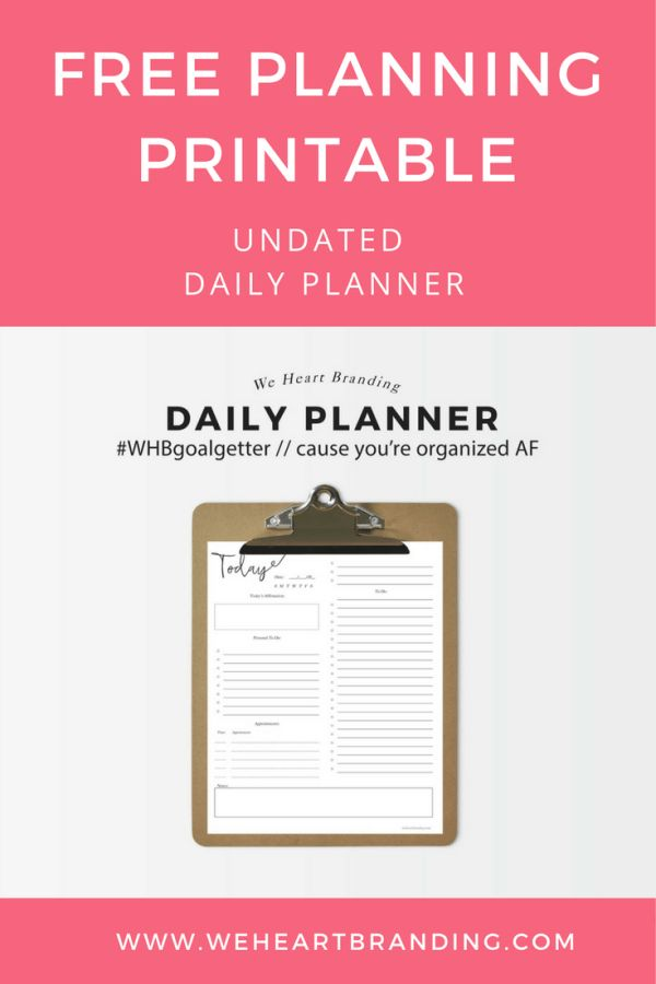 Free Undated Daily Planner Printable – We Heart Beauty