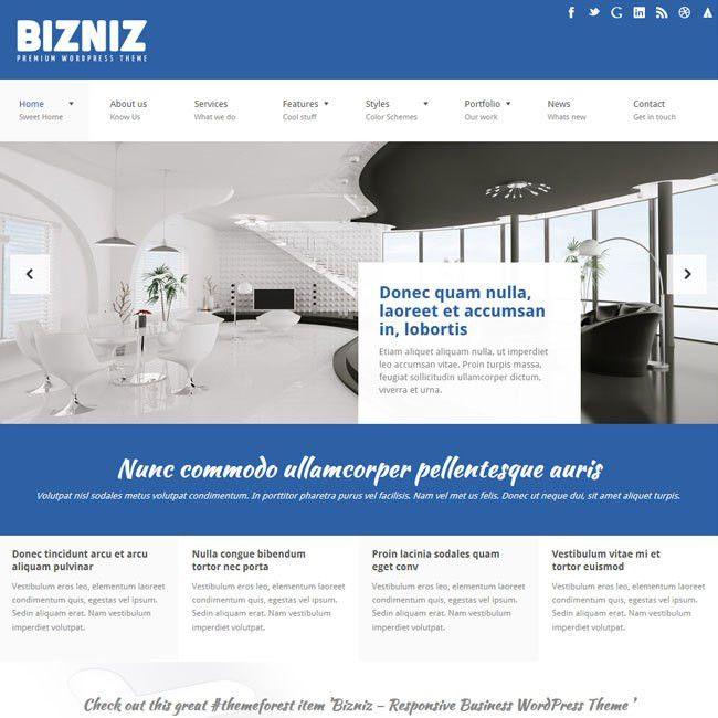 Bizniz - Responsive Business WordPress Theme   Best WordPress ...