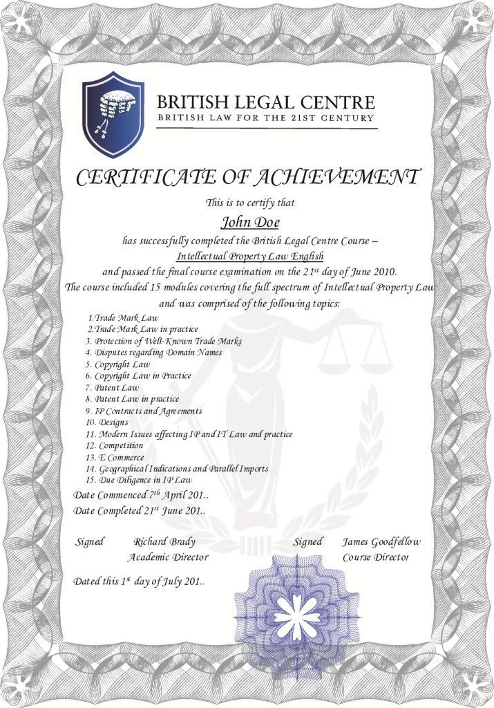 Legal English Online – Certificate sample