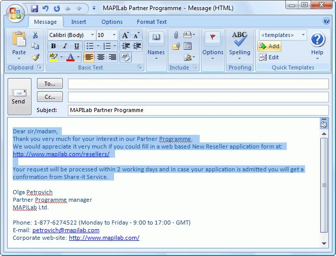 Quick Templates for Outlook - Add-in helps you with entering ...