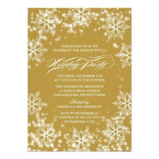 An elegant gold holiday party invitation with white snowflakes ...
