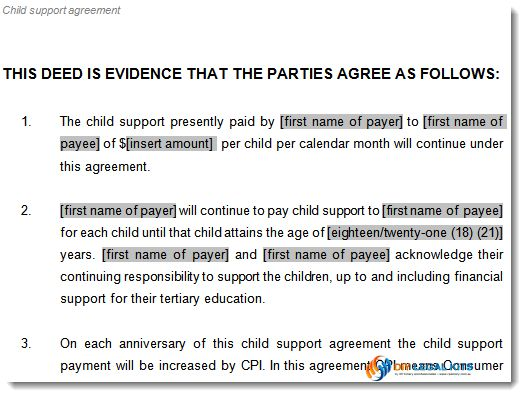 Child Support Agreement template to document arrangements