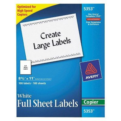 Avery® 8-1/2 x 11 Self-Adhesive Copiers Full Sheet Shipping Labels ...