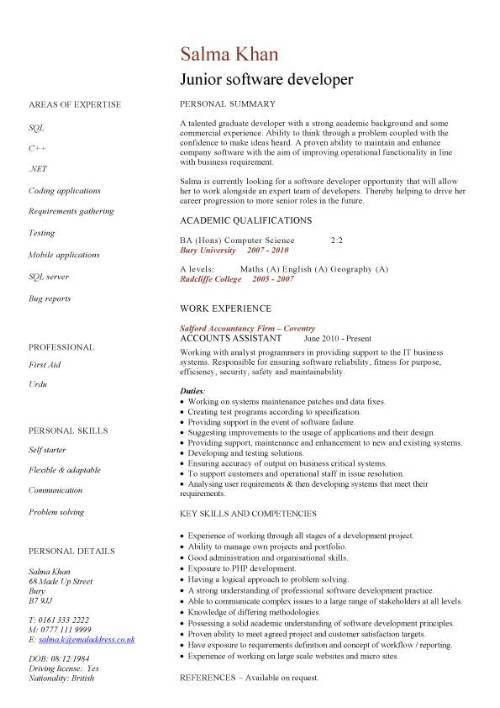 Junior software developer CV sample, resume writing, curriculum ...