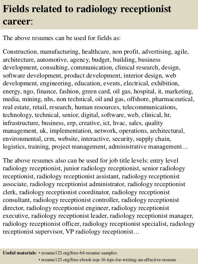 Top 8 radiology receptionist resume samples