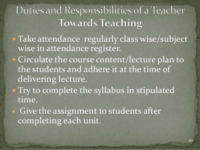 Duties and responsibilities of a teacher