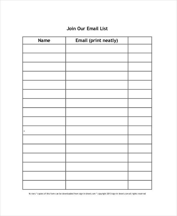 Email Sign Up Sheet Template | Template Idea