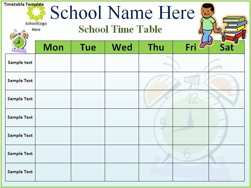 Timetable Template Download Page | Word Excel PDF